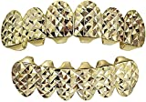 Solid 925 Sterling Silver Grillz - Top Or Bottom Grills for Teeth - 14k Gold Finish W. Iced Diamond Cut Design - Hip Hop Celebrity Look (Bottom Grillz)