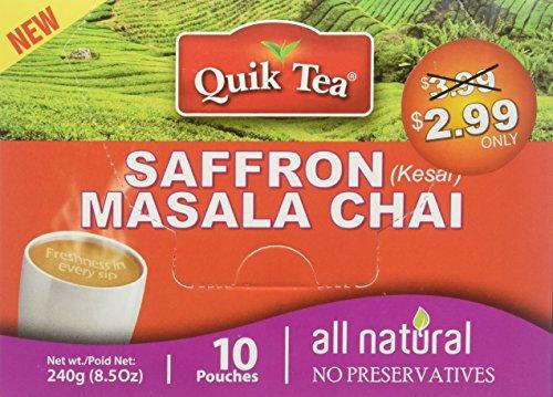 Quik Tea All Natural Saffron Chai Latte Mix Made from Assam Teas All Natural No Preservatives 10 Pouches (240 g / 8.5 oz)