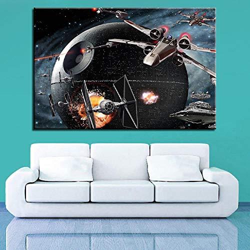Suuyar Hd print canvas wall art foto woondecoratie vleugel ster schilderij death star film vliegtuig poster decoratie-50x75cm geen frame