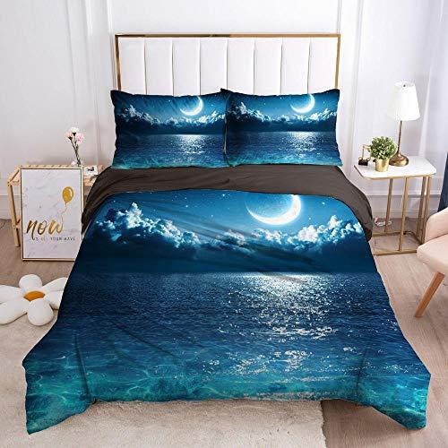 QDoodePoyer Bettwäsche-Sets 3 teilig Mikrofaser Blau See Mond Muster Bettbezug Set 260x240cm Bettbezug mit Reißverschluss und 2 Kopfkissenbezug 80x80cm Weiche Bettwäscheset