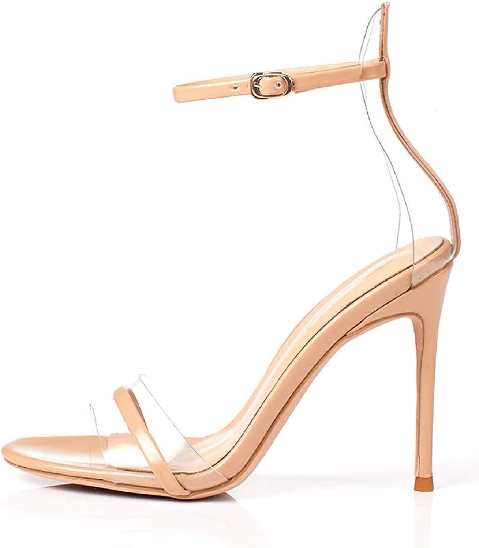 FengQingy One Word Gürteltasche Mit Sandalen Damen PVC10cm PVC10cm High Heels (Farbe   schwarz, Größe   37donglu)  klassischer Stil