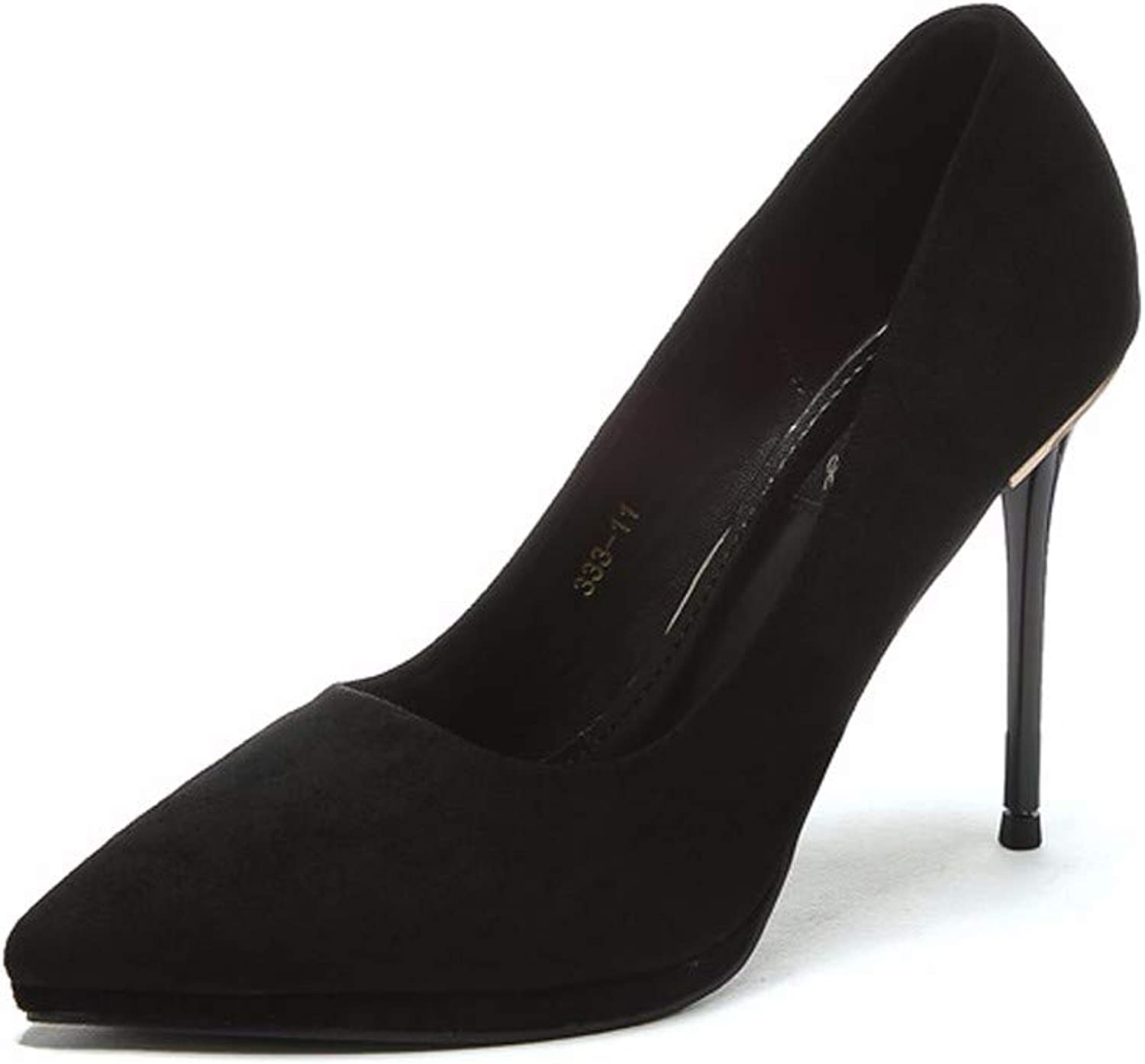 SFSYDDY Popular shoes Super High Heel with High 11Cm Thin and Wild Sexy Black Rear Drill Pointed shoes.