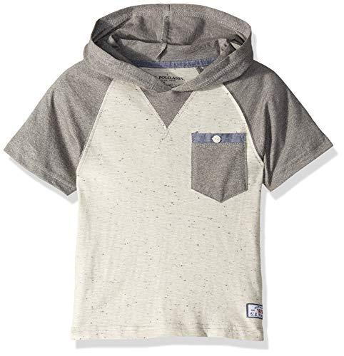 U.S. Polo Assn. Boys' Toddler Short Sleeve Hooded Popover Raglan T-Shirt, Marled Light Grey, 2T