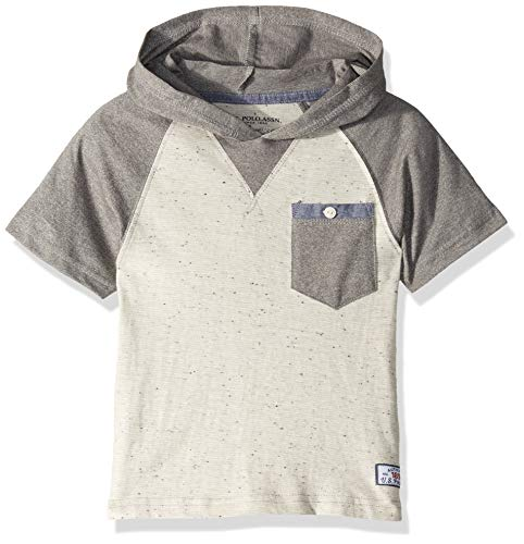 U.S. Polo Assn. Boys' Toddler Short Sleeve Hooded Popover Raglan T-Shirt, Marled Light Grey, 3T