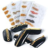 Nail Art Nail Chains Nail Supplies for Women 4 Packs of 24 Pieces Gold & Silver Metal Punk Pendant Nail Ornaments 3D Nails Supply Nail Art Chains DIY Design Decorations for Manicure Tips