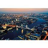 GREAT ART® Póster – Vista de Londres - Ciudades al Atardecer Sightseeing City Lightning Tower Bridge City Capital Metrópolis Decoración de Pared DIN A2 (42 x 59,4cm)