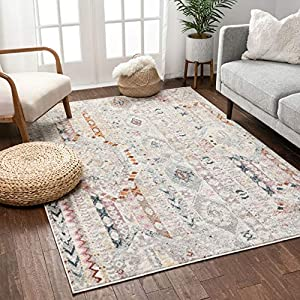 Well Woven Ollie Vintage Ivory Tribal Diamond Stripes Pattern Area Rug 5×7 (5'3″ x 7'3″)