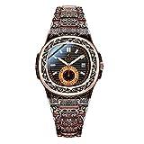 Wyenliz Reloj de hombre original especial hecha a mano de moda de personalidad negocio de ocio a Estudiante Correa de acero inoxidable prueba de agua reloj de regalo de cuarzo analógico Unisex