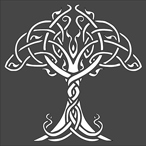 Rubstamper Celtic Tree of Life Logo Stencil Reusable Sturdy Flexible Clear Plastic 1-8x8 in Arts and Crafts Material Scrapbooking for Airbrush Painting Drawing