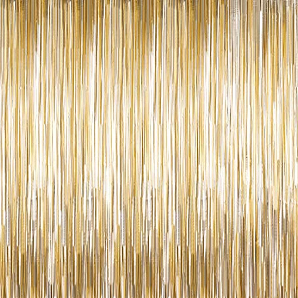 Sumind 10 Packs Foil Fringe Backdrops Wall Tinsel Curtains Door Fringe Curtains for Thanksgiving, Christmas, Disco, Birthday, Graduation Party Decorations New Year's Party Supplies (Matt Light Gold)