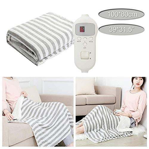 WYZQ Electric Blanket - 100 x 80cm - Built In Advanced Overheat Protection System with Auto Safety Shut Off - Fast Heat Up Time - Machine Washable and Safe For All Night Use (Color : Gray),Bed Throws