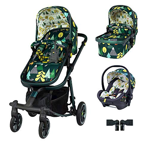 Cosatto Giggle Quad Pram Pushchair Travel System Bundle – From Birth to 20kg, RAC Port i-Size Car Seat, Adaptors, Raincover (Into The Wild)