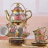 ZQADTU Juego de tazas de tetera de 14 piezas servicio de café, patrón de flores chino, tetera de cerámica para el hogar de café Set té, té por la tarde pieza de té de cerámica para boda