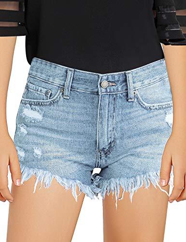 luvamia Girls Denim Shorts Frayed Raw Hem Ripped Denim Jean Shorts 4-13 Years Light Blue Size XX-Large (12-13 Years)