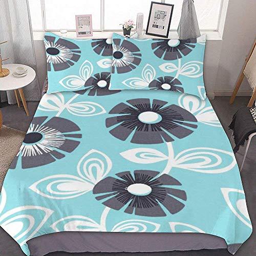 88888 Bettbezug-Set, Mikrofaser, Doppelbettgröße, Regina – Aqua Flowers, dekoratives 3-teiliges Bettwäsche-Set mit 2 Kissenbezügen, ohne Bettlaken