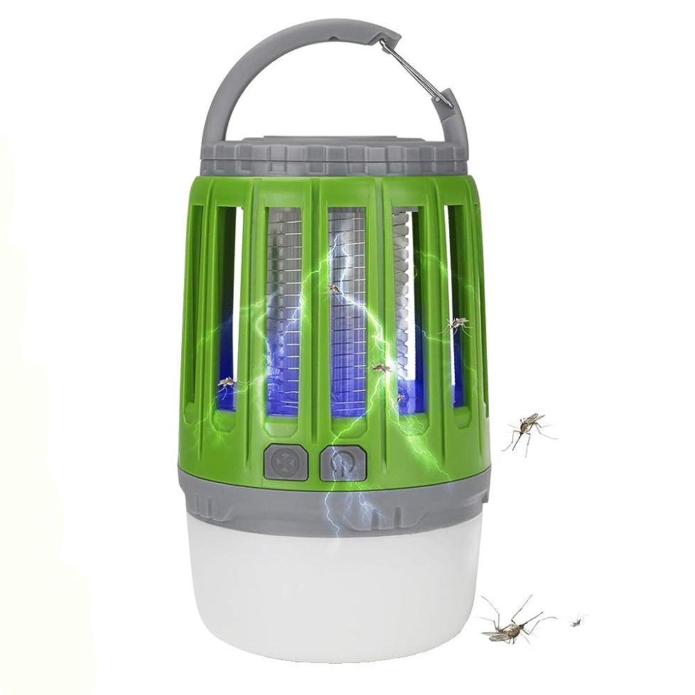 換気大気均等にキャンプランタンバグザッパーテントライト、2-in-1ポータブル防水蚊キラーLEDランタンキャンプライト、USB充電式、格納式フック、ハイキング用の取り外し可能なランプシェードキャンプバックパッキング釣り