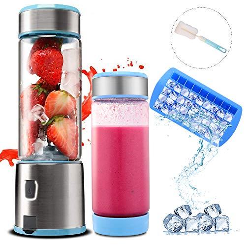 TTLIFE Portable Blender USB oplaadbare glas & roestvrij staal Jucier Cup powerful Dual motor 5200 mAh 450ml met 4 blades Juice Mixer Bottle for Fruit, Smoothie, Milkshake, FDA/BPA-vrij blauw