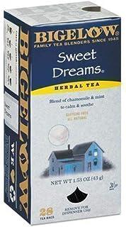Bigelow Sweet Dreams Herbal Tea 28-Count Box (Pack of 1) Relaxing Blend of Chamomile & Mint Caffeine-Free  Nighttime Herba...