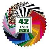 HTV Heat Transfer Vinyl Bundle: 42 Pack 12' x 10' Iron on Vinyl for T-Shirt, 35...