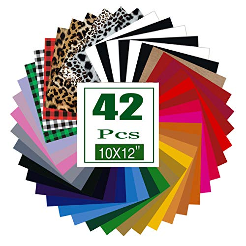 """HTV Heat Transfer Vinyl Bundle: 42 Pack 12"""" x 10"""" Iron on Vinyl for T-Shirt, 35 Assorted Colors Sheets and 1 Sheet Teflon, Iron On Vinyl for DIY T-Shirts Fabrics"""