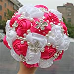 s-ssoy wedding bouquet bride bridal brooch bouquets bridesmaid bouquet diamond pearl ribbon valentine's day confession party church with free corsage flower, rose+white