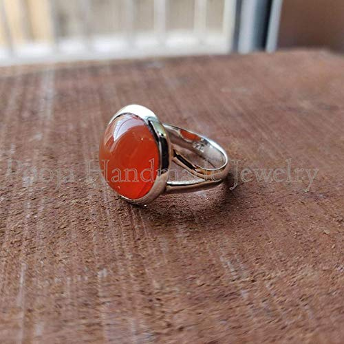 TVS-JEWELS AAA Quality Red Garnet Stone Engagement Ring in 14k Gold Plated Sterling Silver