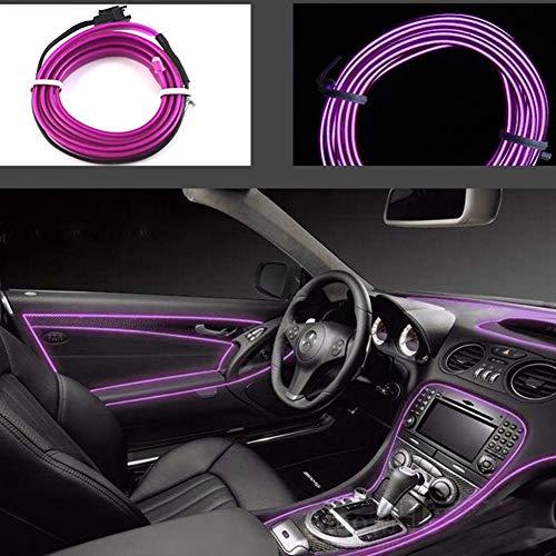 El Wires Car Kit 5mt /16ft Elektrolumineszenz Licht Leuchtende Neon Lichterketten Für Autotür/Konsole/Sitz/Armaturenbrett Dekoration Leicht Diy (Lila)