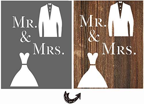 """vizuzi Schablonen mit Aufschrift """"Mr and Mrs"""", Hochzeitsdekoration, Brautpaar, Schablone für Malerei, Holzböden, Möbel, Papier, Fenster, Glastür, Wand, Basteln"""