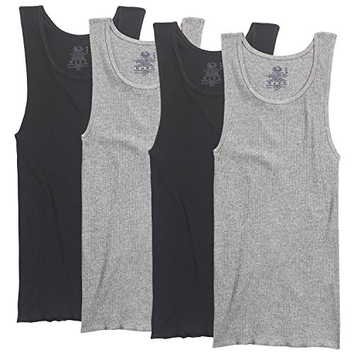 Fruit of the Loom Men_s A-Shirt (Pack of 4), Black/Gray, Small.