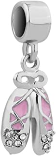 Charmed Craft Crystal Shoes Charms Key Heart Charms Bell Charms Girl Dancing Charms Beads for Bracelets