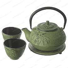 New Star International T8180 Cast Iron Bamboo Tea Set with Trivet, 21 Ounce, Green