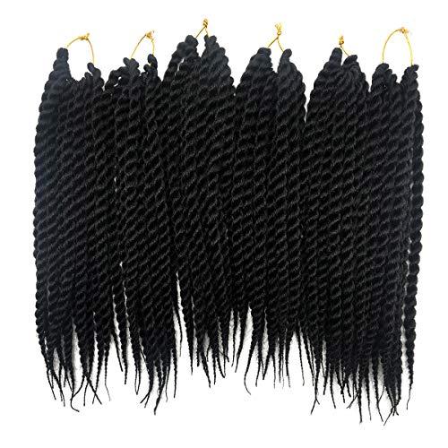 6 Packs/Lot Tresses de Crochet Twist Mambo Havana Noires Twist Sénégalaises Noires Crochet Synthétique Tressage Extensions de Cheveux (12 Pouces, 1B)