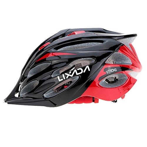 Lixada Casco da Bici Ciclismo Unisex 24 Vents Ultraleggero Integralmente Modellata EPS Sportivo con Fodera Tampone (Nero Rosso)