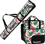 BRUBAKER Conjunto CarverSpotlight - Bolsa para Botas y Casco de ski Junto para 1 par de esquís + Bastones + Botas + Casco - Flamingos - 170 cm