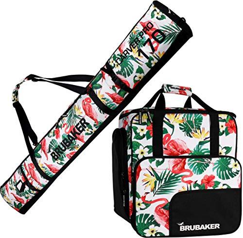 Brubaker Kombi Set CarverSpotlight - Skisack und Skischuhtasche für 1 Paar Ski + Stöcke + Schuhe + Helm - Flamingos - 170 cm