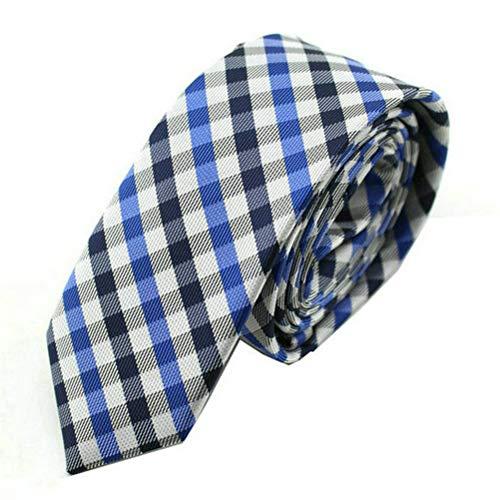 Men's Silk Tie Formal Necktie Diamond Plaid Patterned Dating Tie Navy White Blue Diamond Patterned Silk Tie