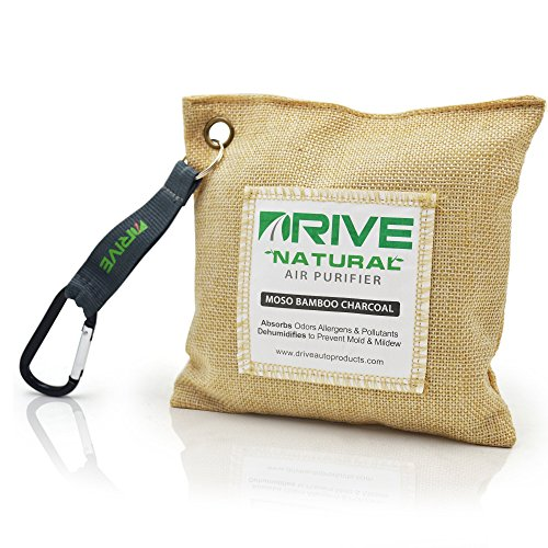 DRIVE Natural Car Air Freshener (Beige) - Best Auto Purifier is Certified Moso Bamboo Activated Charcoal 220g - Unscented Deodorizer, Drying Bag Removes Allergens & Moisture - Prevents Bacteria Mildew
