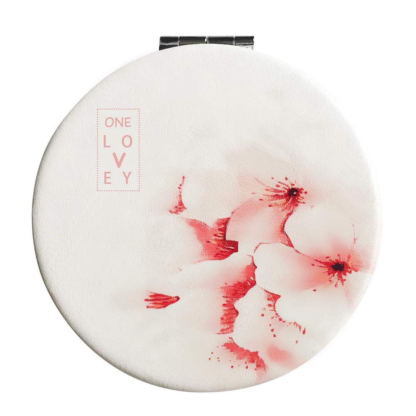 競争主張する段階コンパクトミラー 手鏡 折りたたみ 割れない 3倍拡大鏡付き 桜 丸型