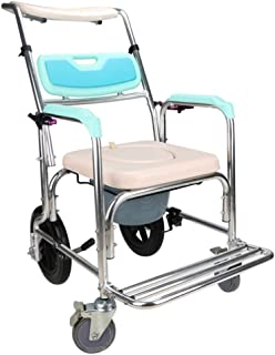 Asdfnfa Commode Chair, Aluminum Toilet Chair for Elderly, Reinforced Anti-Slip, Adjustable Backrest and Headrest, 4 Wheels...