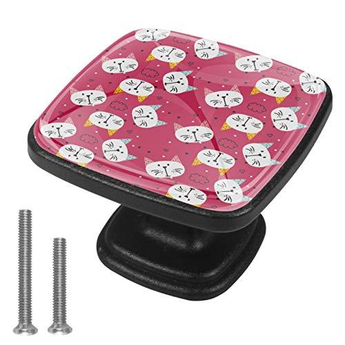 Juego de 4 pomos para armario de cocina, diseño de gatos blancos, fondo rosa