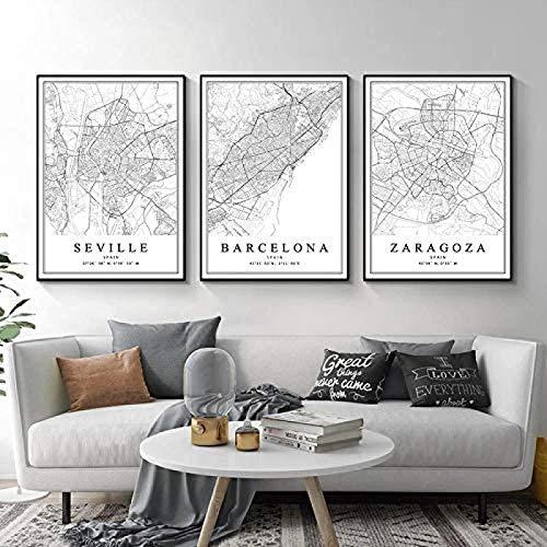 Rzhss Mapa De La Ciudad De España Barcelona Madrid Málaga Sevilla Valencia Zaragoza Carteles Pinturas En Lienzo Arte De La Pared Impresiones Decoración Interior Del Hogar / 50X70Cmx3Pcs-Sin Marco