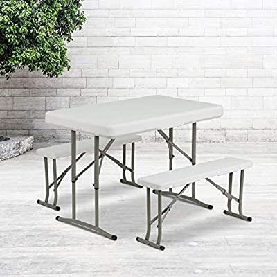 Flash Furniture 3 Piece Portable Plastic Folding Bench and Table Set
