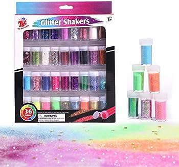 TBC The Best Crafts 36 Glitter Shaker Jar Set