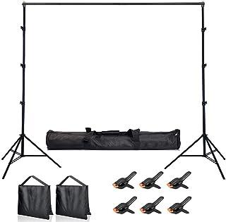 Hemmotop 背景スタンド 280 x 300cm 撮影スタンド 3m 撮影サンドバッグ2個と背景布クリップ 6個付き 安定性がよい 大型 背景サポートシステム 3m x 3.6m 撮影用背景布/背景紙に適用 撮影スタジオ 収納バッグ付き 艶消し塗装 高級感がある 高強度
