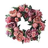 Ghirlanda decorativa a forma di peonia, 40 cm, per porta, corona di fiori artificiali, corona di fiori artificiali per la primavera e il matrimonio, decorazione per interni (rosso scuro)
