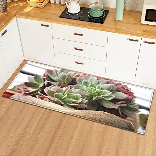 OPLJ Alfombrillas de Suelo con patrón de Hoja de Planta Alfombrillas de Cocina decoración del Dormitorio del hogar Alfombra de Piso Entrada de baño Alfombrillas Antideslizantes A14 60x90cm