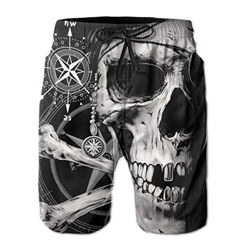 Men's Boy's Casual Novelty Beach Shorts Swim Trunk Retro Swimming Trunks Pirate and Skull Compass Large White