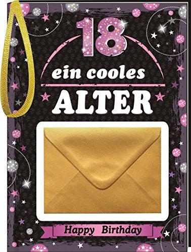 Pfeif auf's Alter Neutral im Geschenke Set für Frauen zum Geburtstag Geldgeschenk Umschlag mit Piccolo 22 Karat Blattgold gold pink lila schwarz (Pfeif aufs Alter pink 18 mit Piccolo 20214) - 2