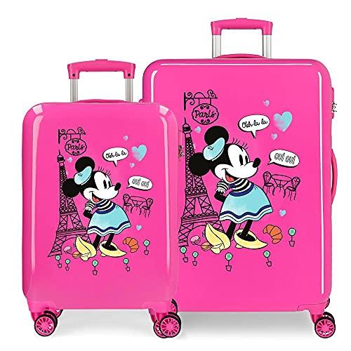 Disney Minnie Around The World Juego de Maletas Rosa 55/68 cms Rígida ABS Cierre de combinación Lateral 104 6 kgs 4 Ruedas Dobles Equipaje de Mano