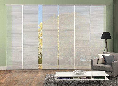 Vision S 96401 | 6er-Set Schiebegardine ROM | halb-transparenter Stoff in Bambus-Optik | 6X 260x60 cm | Farbe: (grau)